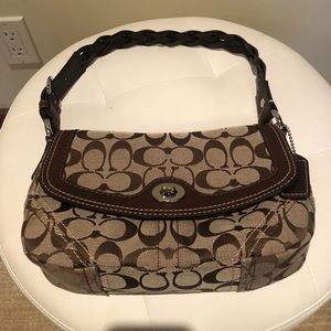 COACH Braided Leather Shoulder bag with turnlock